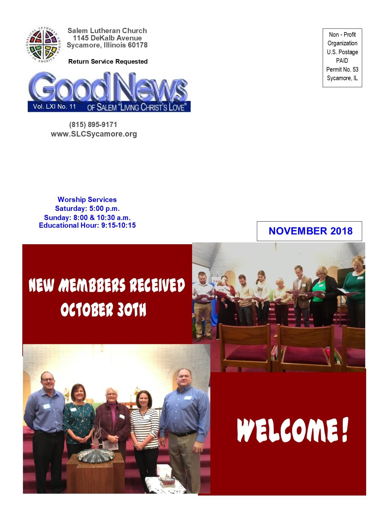 November 2018 Newsletter Cover