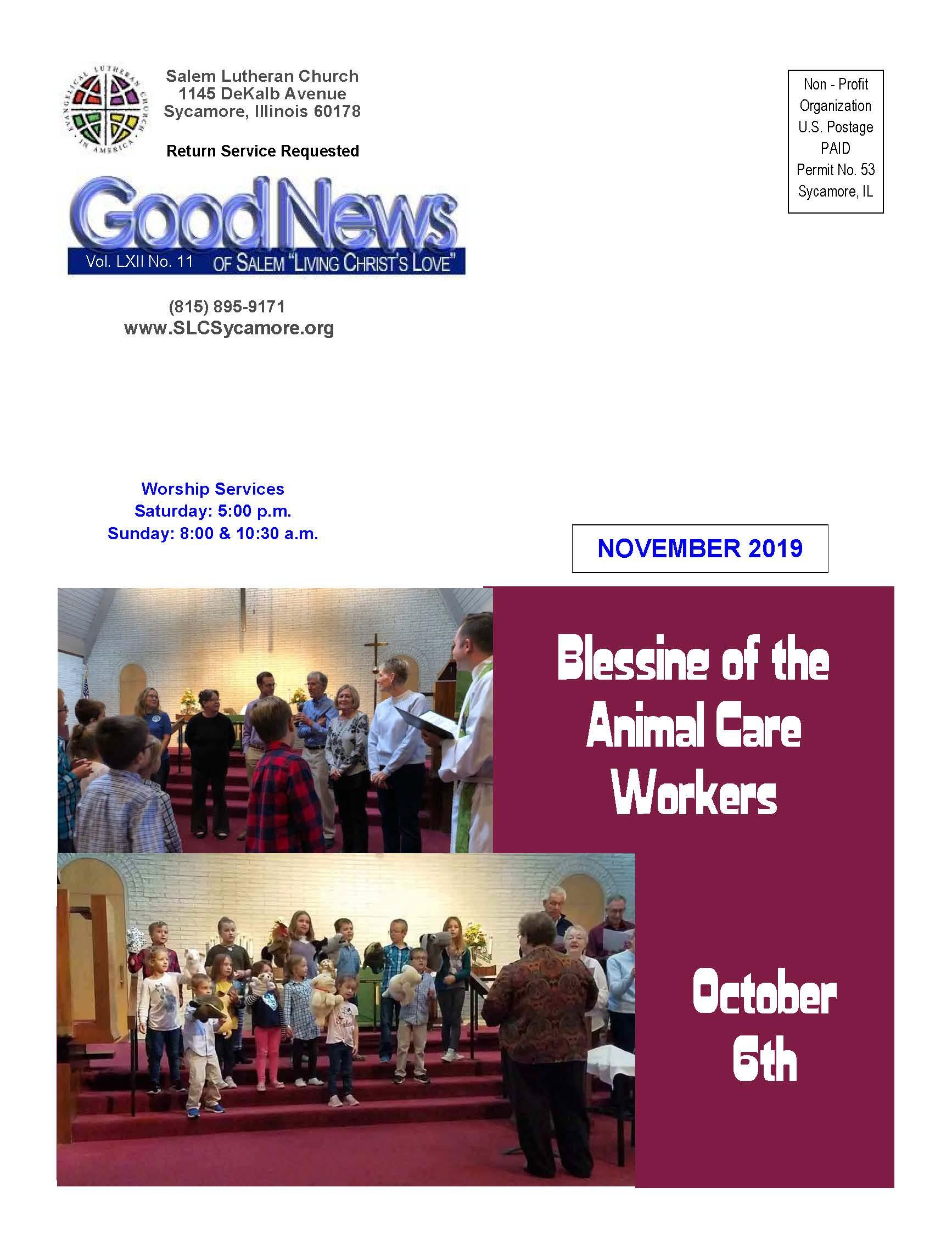November 2019 Newsletter Cover
