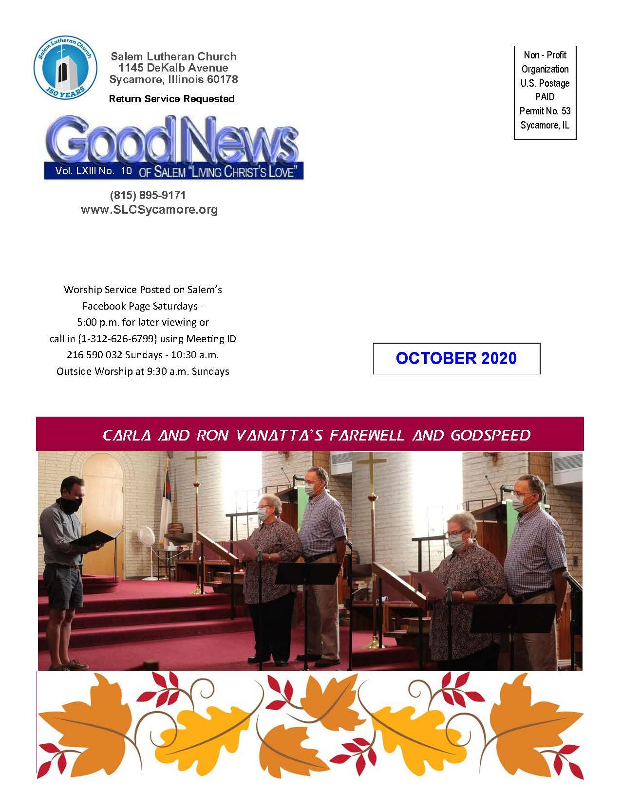 October 2020 Newsletter Cover