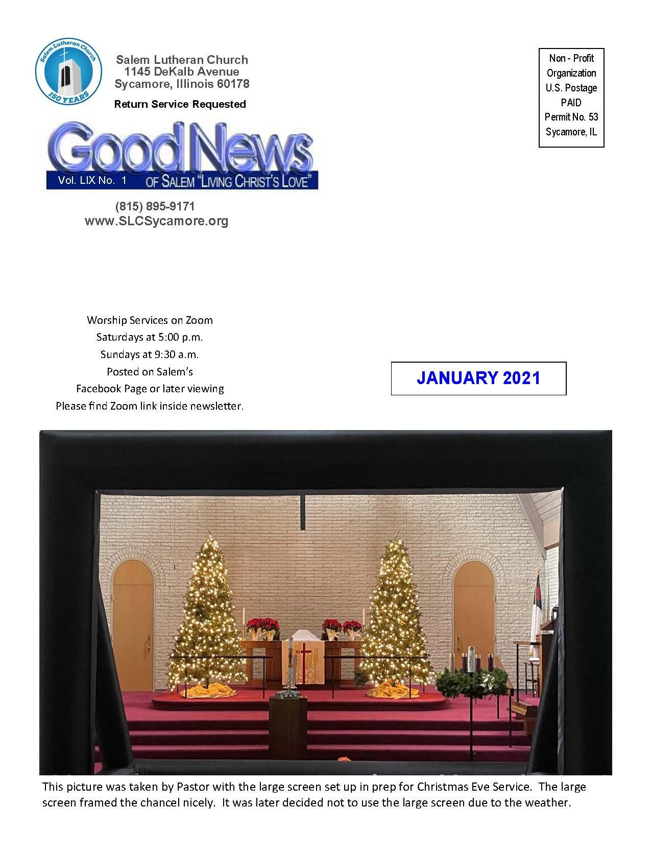 January 2021 Newsletter Cover